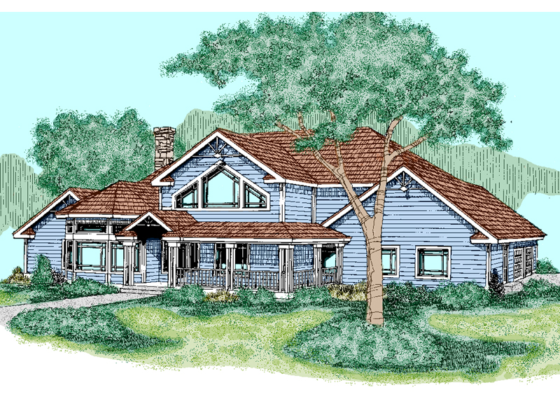 Farmhouse Plan Front of Home - 085D-0490 | House Plans and More