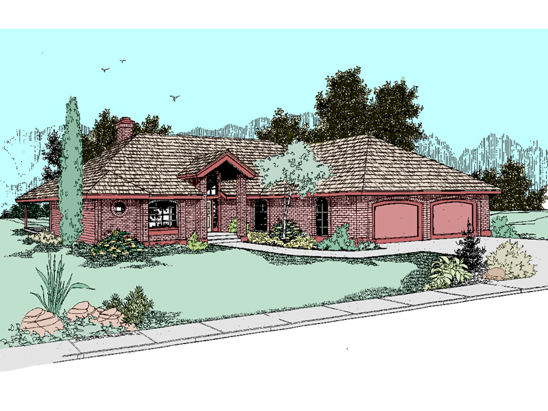 Ranch House Plan Front of Home - 085D-0493 | House Plans and More