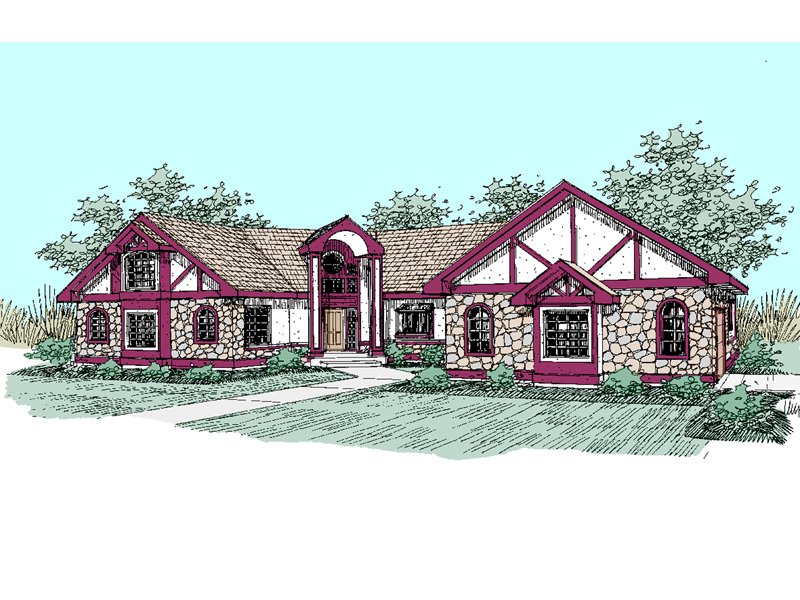 English Tudor House Plan Front of Home - 085D-0495 | House Plans and More
