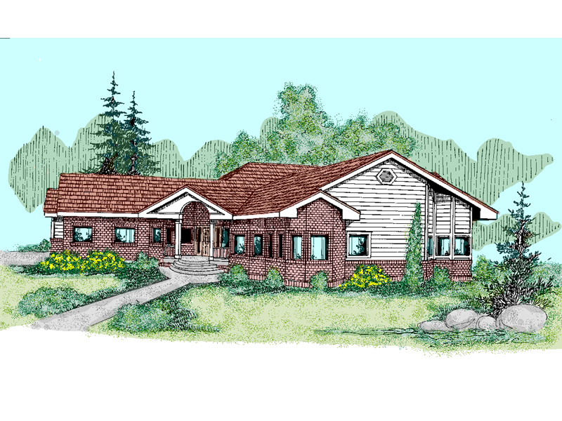 Ranch House Plan Front of Home - 085D-0497 | House Plans and More