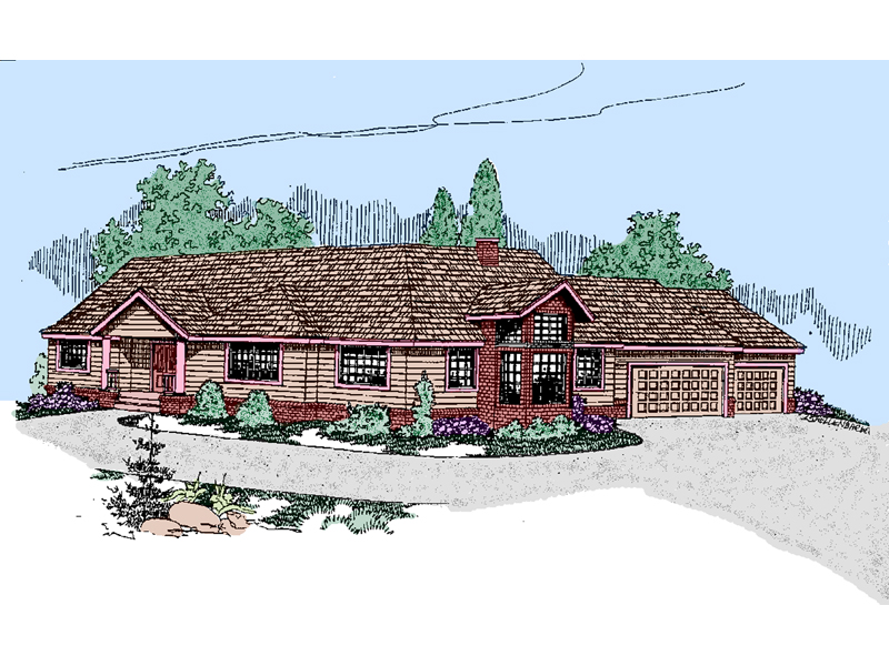 Ranch House Plan Front of Home - 085D-0502 | House Plans and More