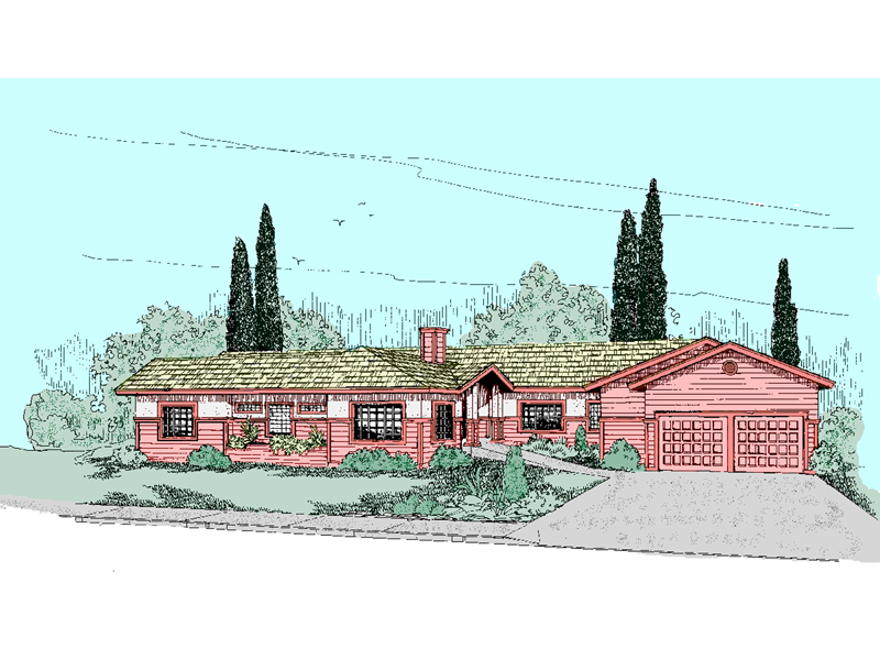Ranch House Plan Front of Home - 085D-0505   House Plans and More