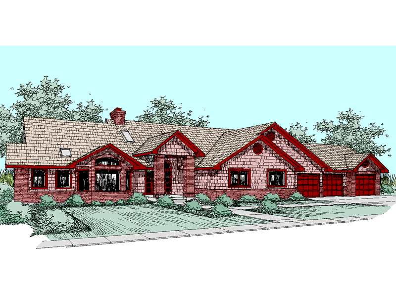 Ranch House Plan Front of Home - 085D-0510 | House Plans and More