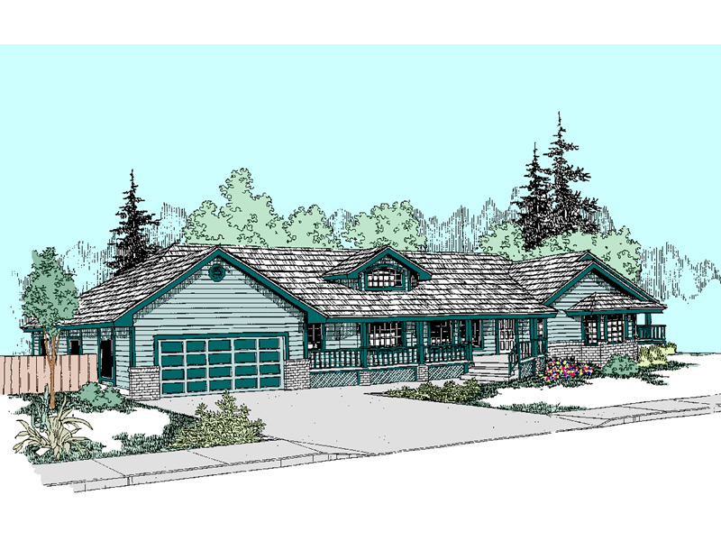 Ranch House Plan Front of Home - 085D-0513 | House Plans and More