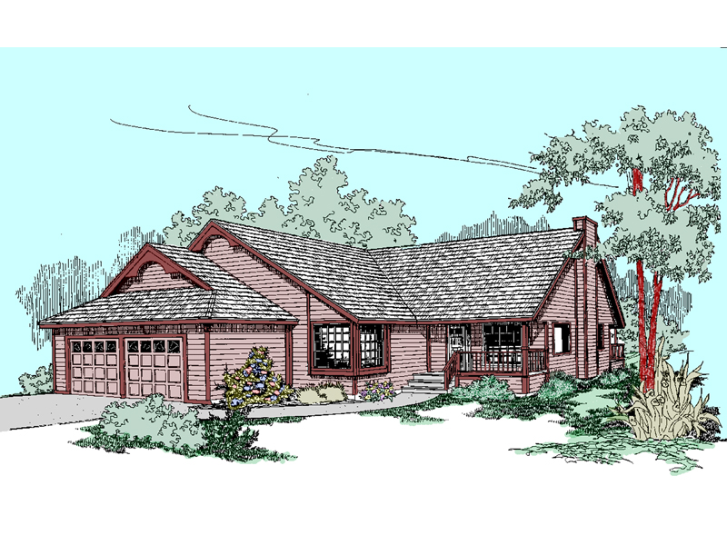 Ranch House Plan Front of Home - 085D-0514 | House Plans and More