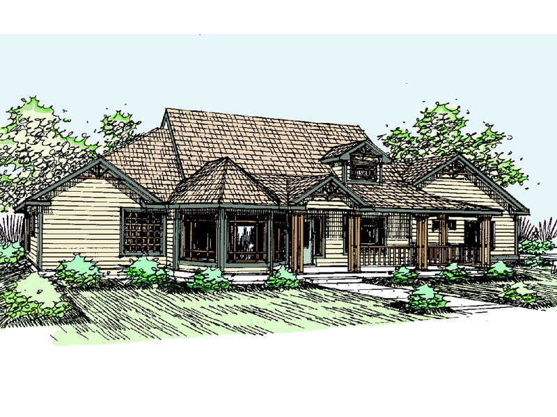 Ranch House Plan Front of Home - 085D-0515 | House Plans and More