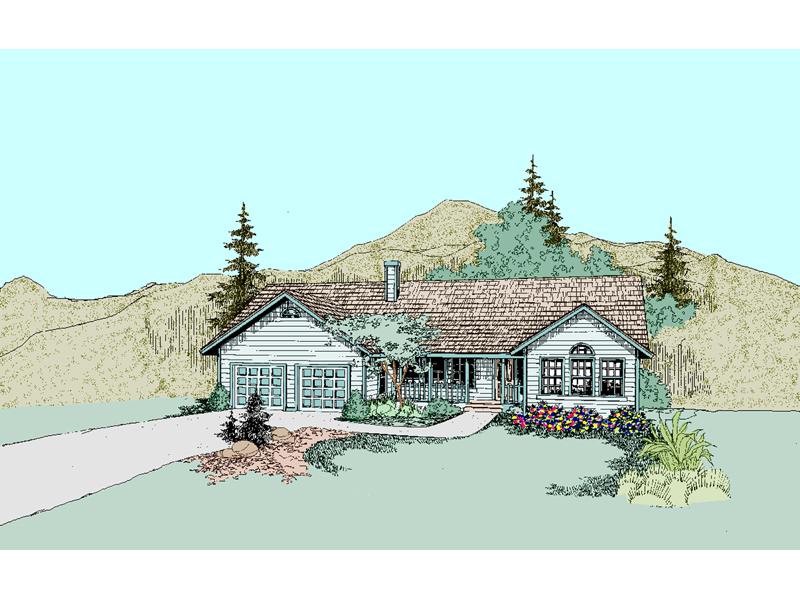 Ranch House Plan Front of Home - 085D-0519 | House Plans and More
