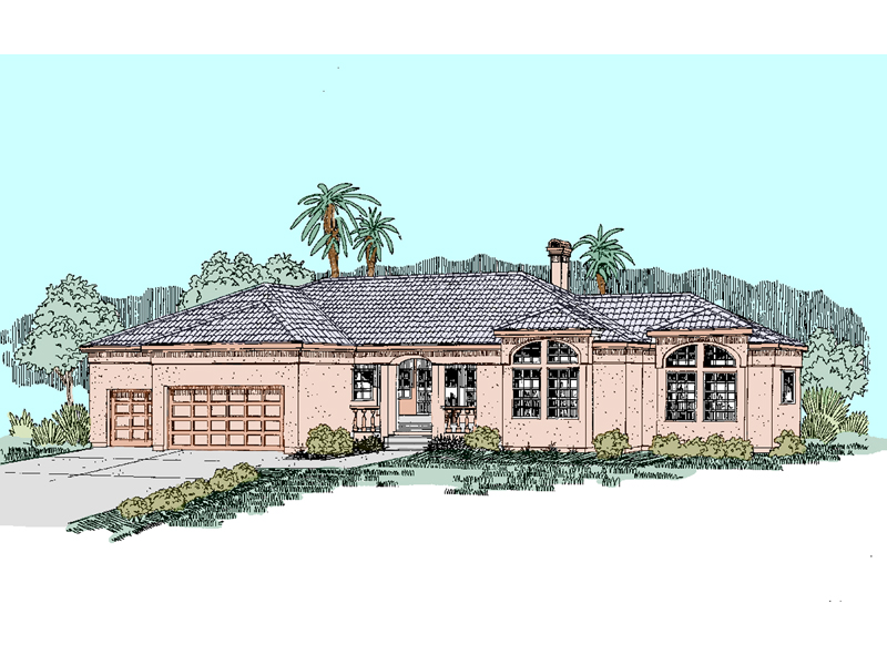 Adobe and Southwestern Plan Front of Home - 085D-0520 | House Plans and More