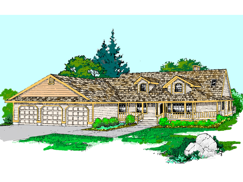 Ranch House Plan Front of Home - 085D-0523 | House Plans and More