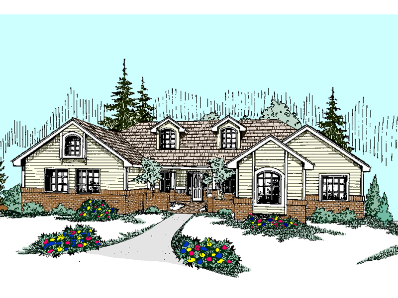 Ranch House Plan Front of Home - 085D-0524 | House Plans and More