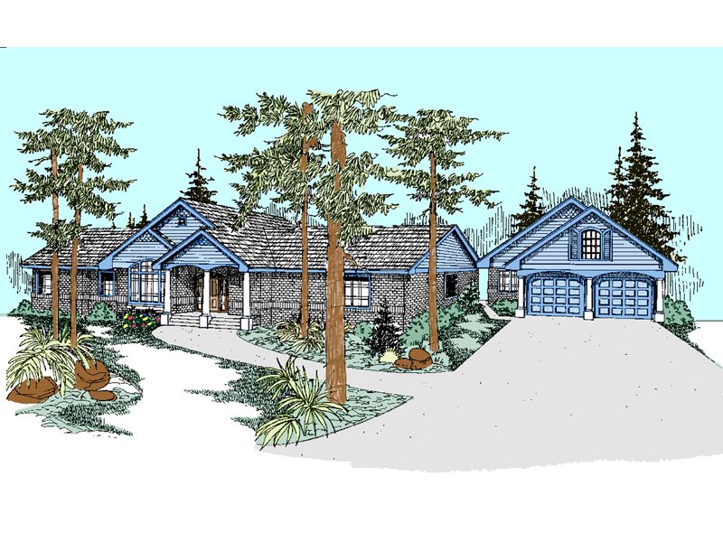 Ranch House Plan Front of Home - 085D-0526 | House Plans and More