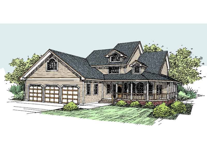 Farmhouse Plan Front of Home - 085D-0528 | House Plans and More
