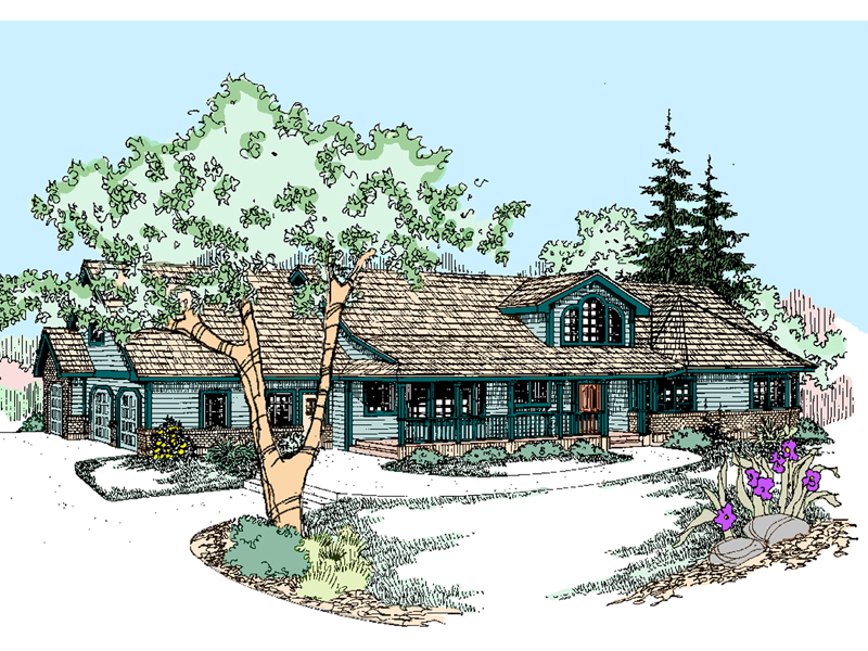 Ranch House Plan Front of Home - 085D-0530 | House Plans and More