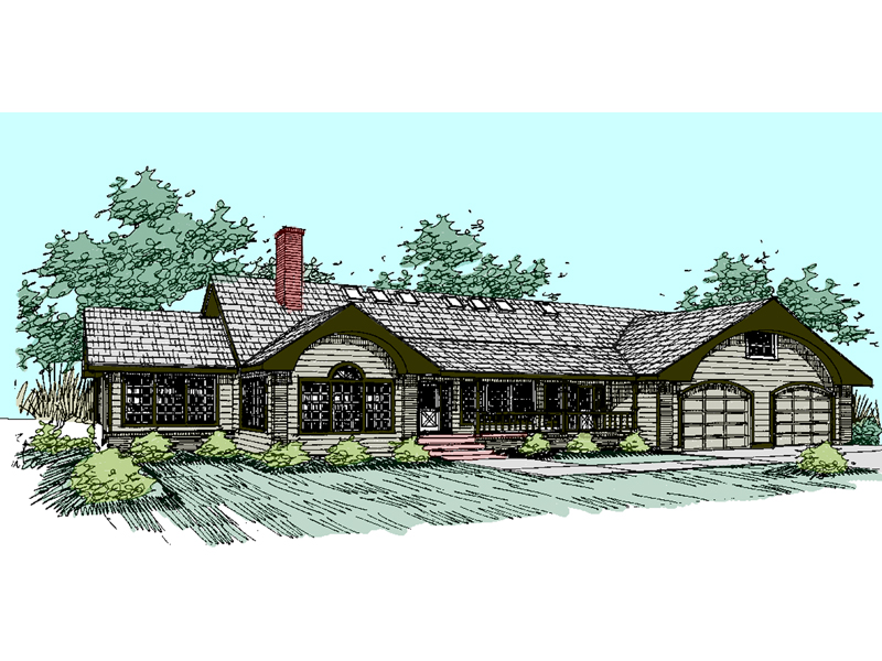 Ranch House Plan Front of Home - 085D-0531 | House Plans and More