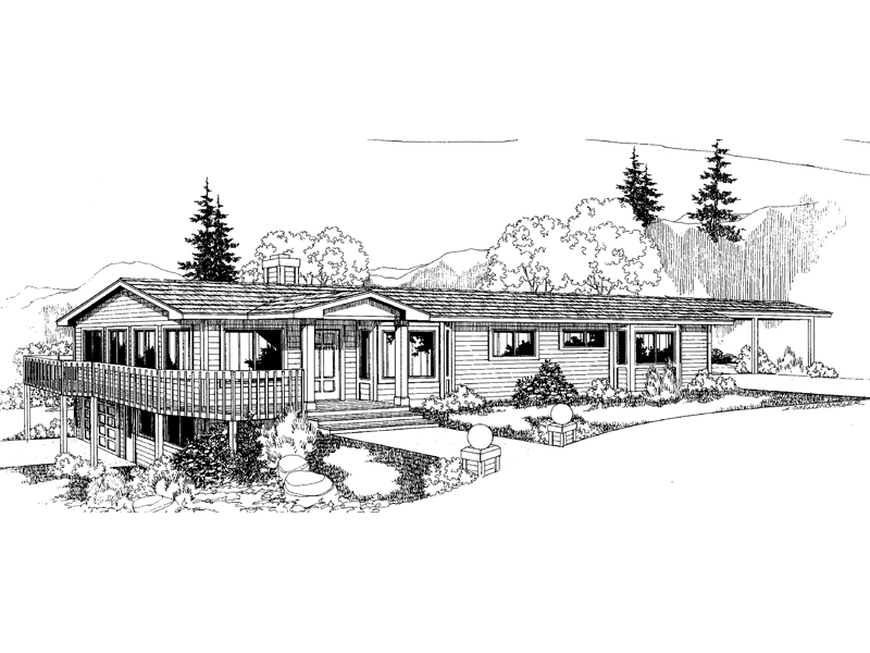 Ranch House Plan Front of Home - 085D-0543 | House Plans and More