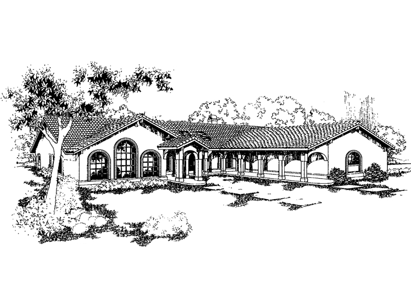 Adobe and Southwestern Plan Front of Home - 085D-0549 | House Plans and More