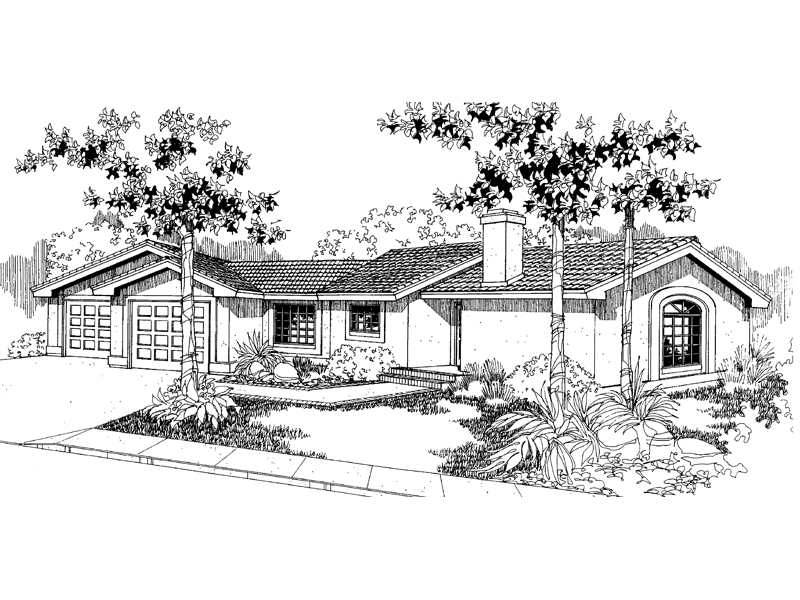 Adobe and Southwestern Plan Front of Home - 085D-0558 | House Plans and More
