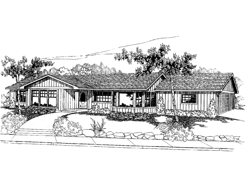 Ranch House Plan Front of Home - 085D-0561 | House Plans and More