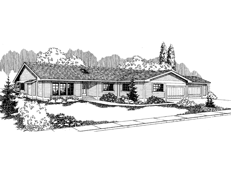 Ranch House Plan Front of Home - 085D-0562 | House Plans and More