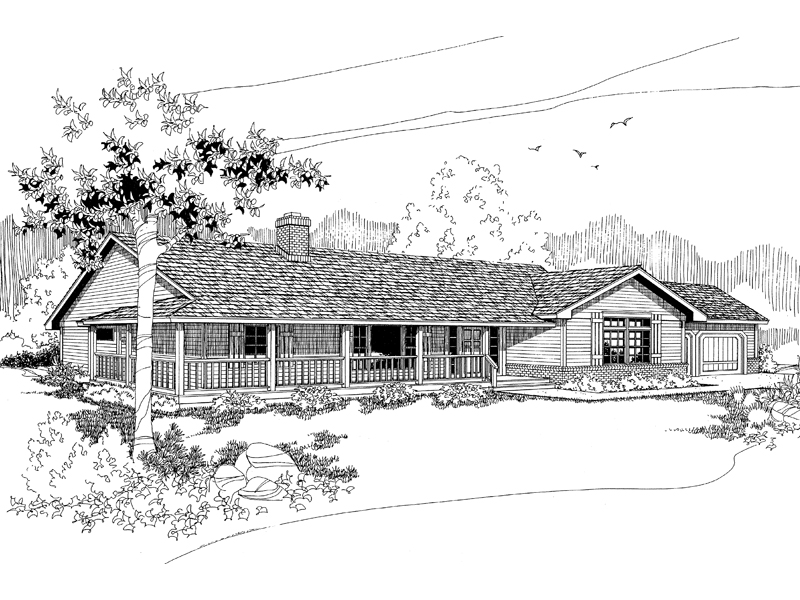 Ranch House Plan Front of Home - 085D-0568 | House Plans and More
