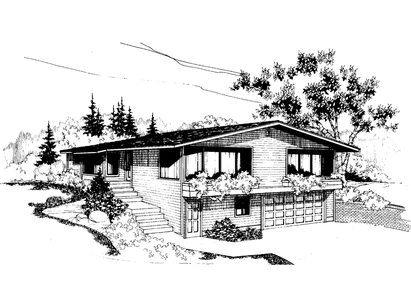 Vacation Home Plan Front of Home 085D-0570