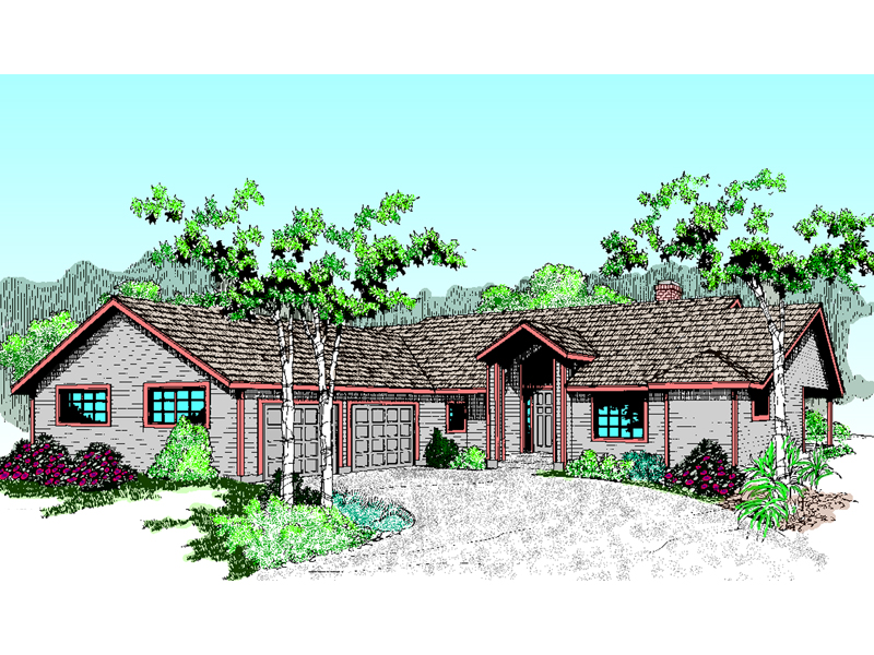 Rustic Ranch Has Curb Appeal With Angled Four-Car Garage Entry