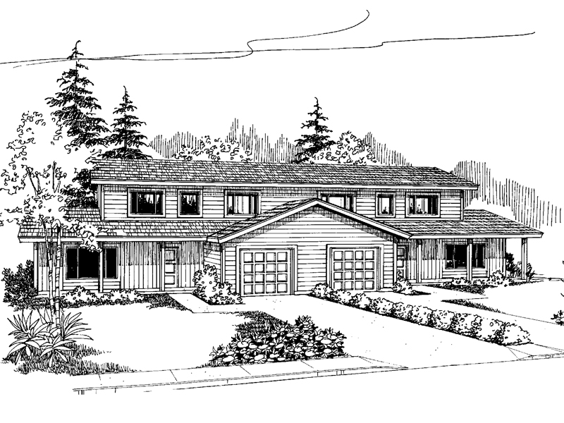 Multi-Family House Plan Front of Home - 085D-0618 | House Plans and More