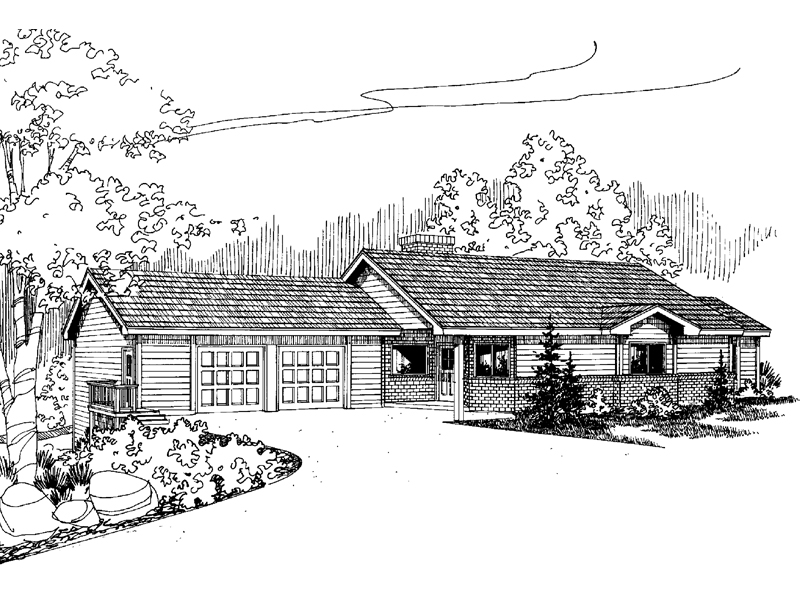 Ranch House Plan Front of Home - 085D-0626 | House Plans and More