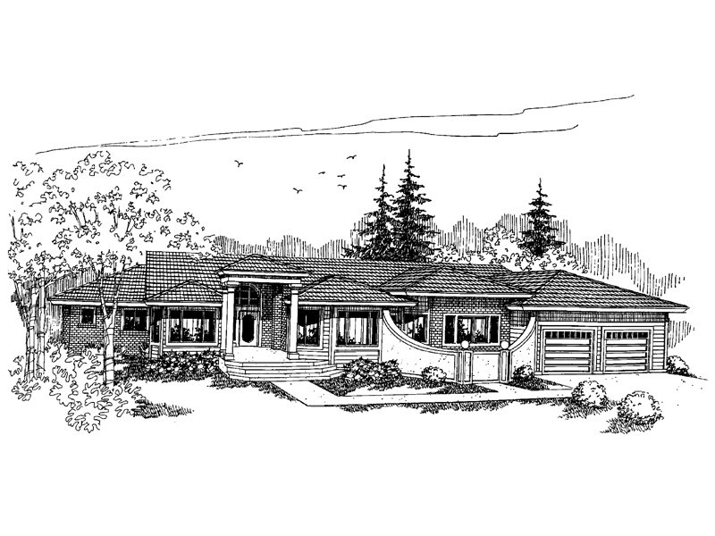 Prairie Style Floor Plan Front of Home - 085D-0629 | House Plans and More