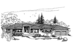 Ranch House Plan Front of Home - 085D-0629 | House Plans and More
