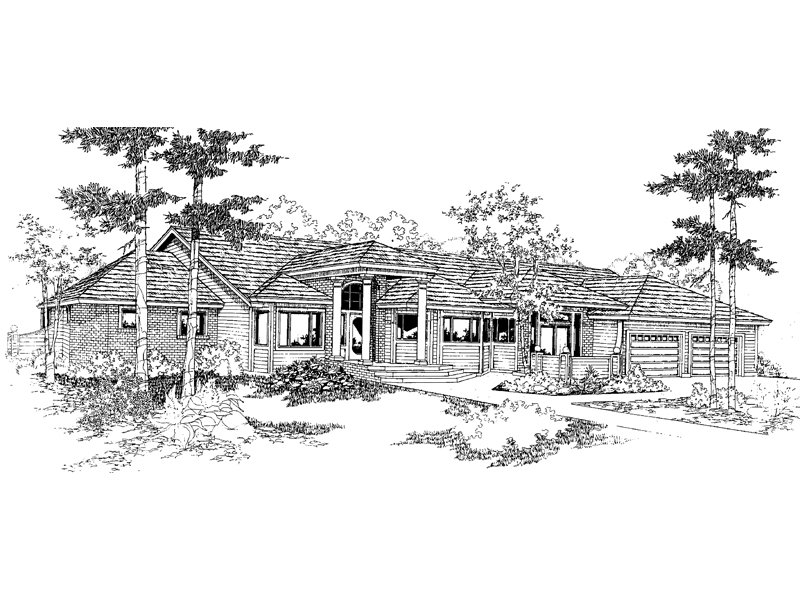Ranch House Plan Front of Home - 085D-0633 | House Plans and More