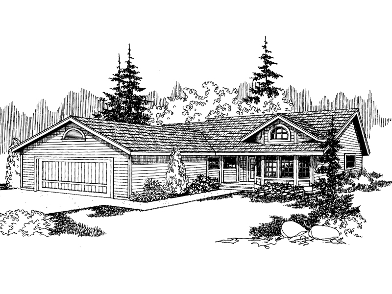 Ranch House Plan Front of Home - 085D-0634 | House Plans and More