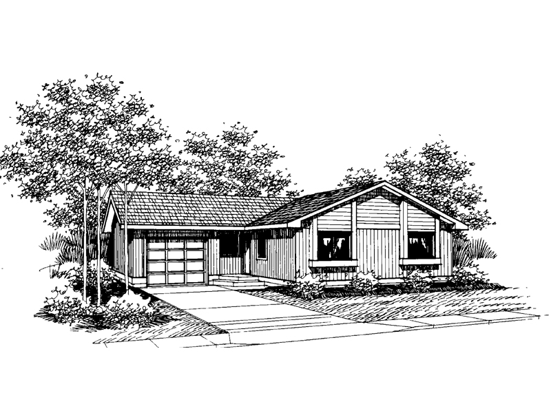 Ranch House Plan Front of Home - 085D-0639 | House Plans and More