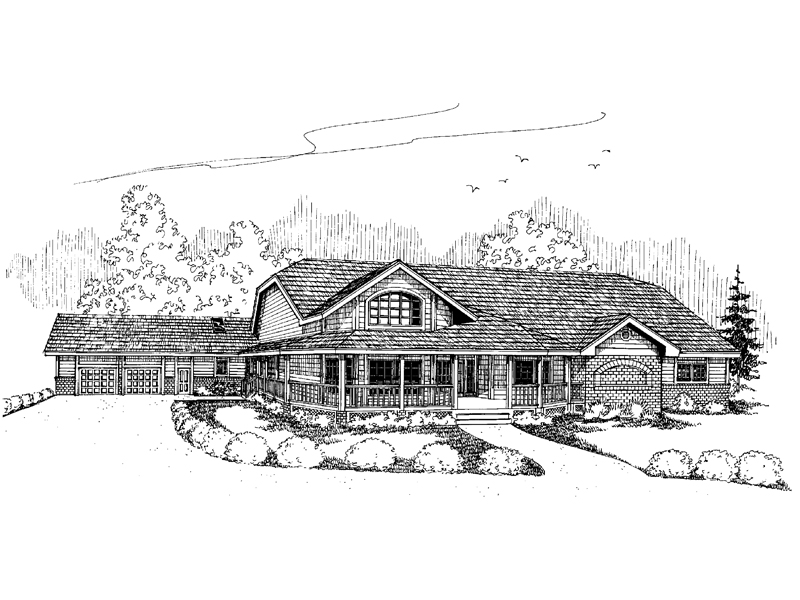 Ranch House Plan Front of Home - 085D-0643 | House Plans and More