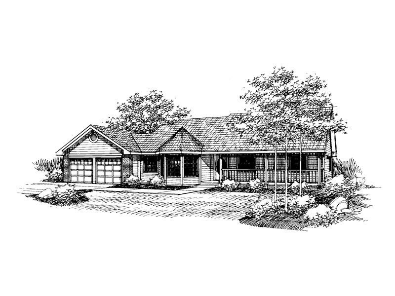 Ranch House Plan Front of Home - 085D-0644 | House Plans and More