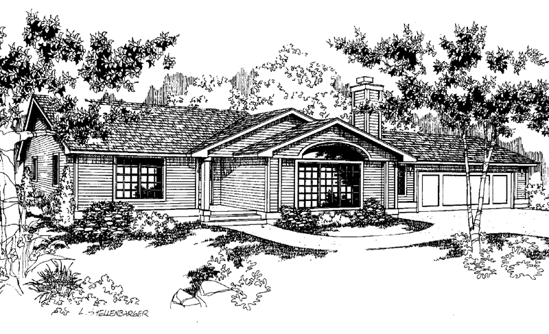 Ranch House Plan Front of Home - 085D-0645 | House Plans and More