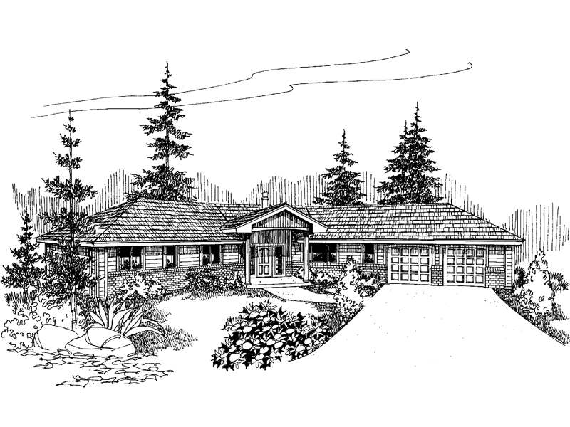 Ranch House Plan Front of Home - 085D-0646 | House Plans and More
