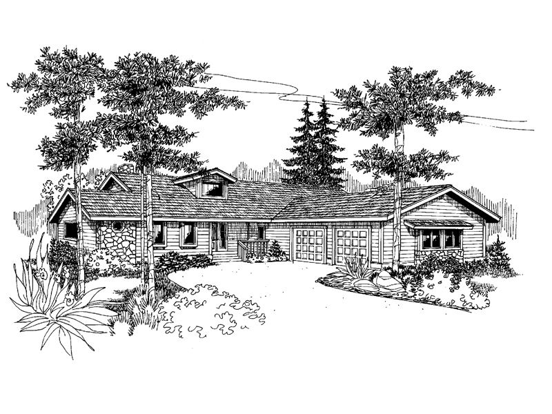 Ranch House Plan Front of Home - 085D-0648 | House Plans and More