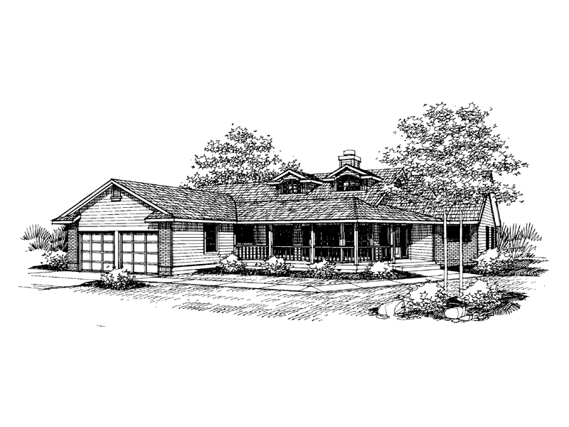 Ranch House Plan Front of Home - 085D-0651 | House Plans and More