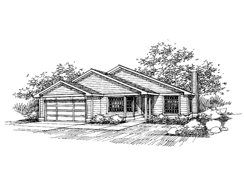 Ranch House Plan Front of Home - 085D-0656 | House Plans and More