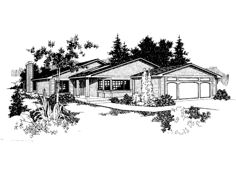 Ranch House Plan Front of Home - 085D-0662   House Plans and More