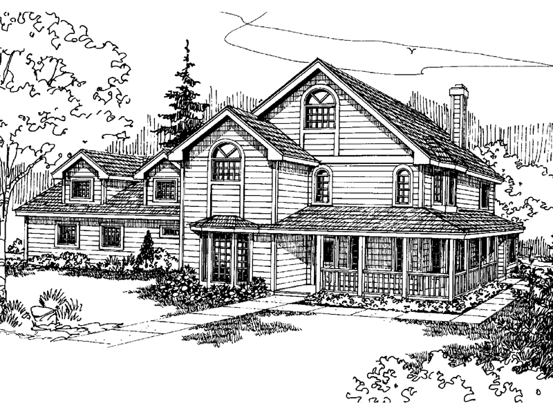 Colonial House Plan Front of Home 085D-0666