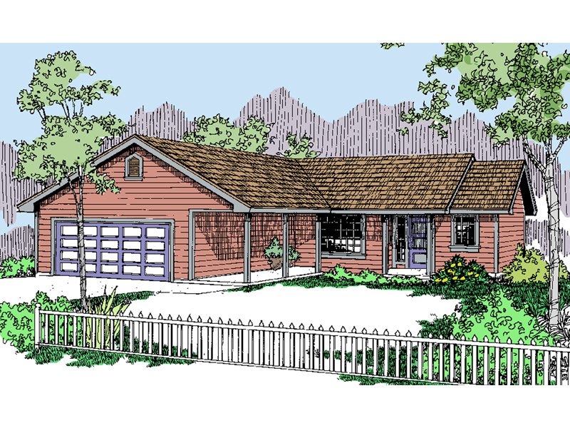 Modest Ranch House Design With Covered Front Porch