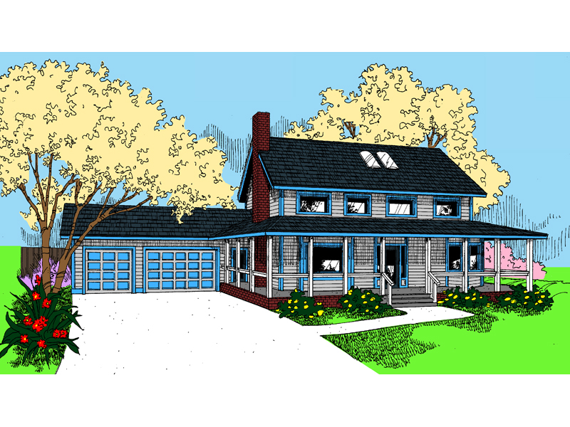 Farmhouse Plan Front of Home - 085D-0741 | House Plans and More