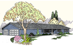 Ranch House Plan Front of Home - 085D-0792 | House Plans and More