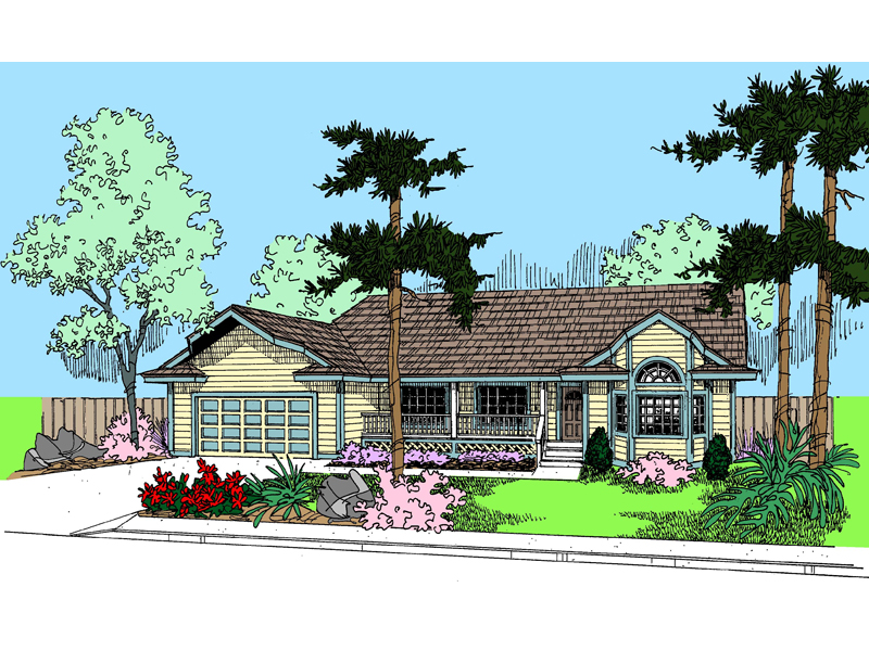 Ranch House Plan Front of Home - 085D-0807 | House Plans and More