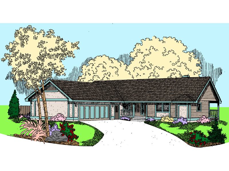 Ranch House Plan Front of Home - 085D-0809 | House Plans and More