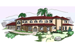 Adobe and Southwestern Plan Front of Home - 085D-0810 | House Plans and More