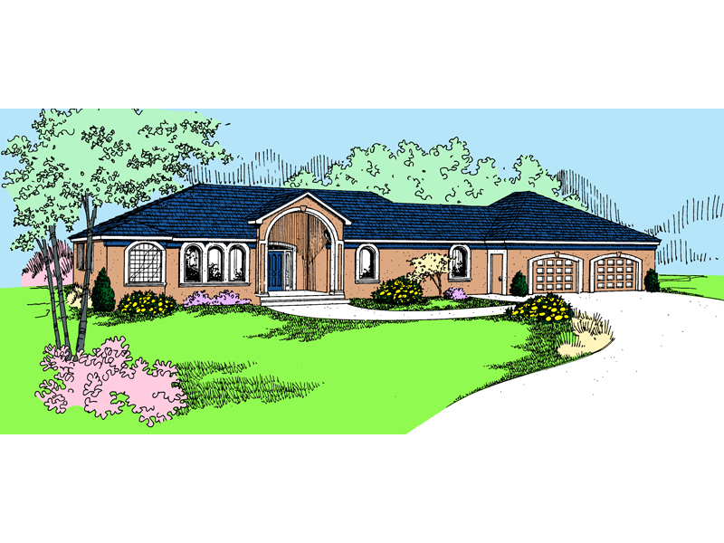 Adobe and Southwestern Plan Front of Home - 085D-0811 | House Plans and More