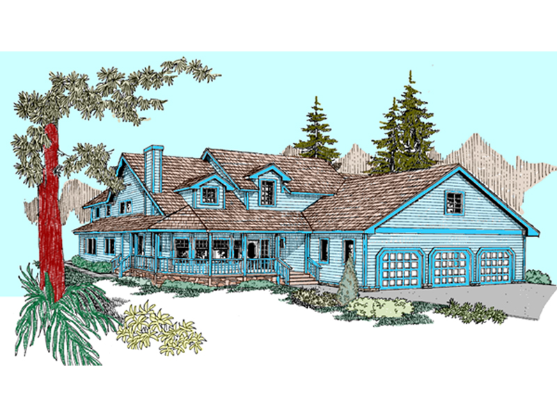 Farmhouse Plan Front of Home - 085D-0827 | House Plans and More